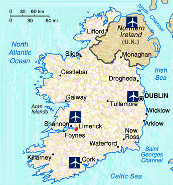 Main airports in Ireland shown on map