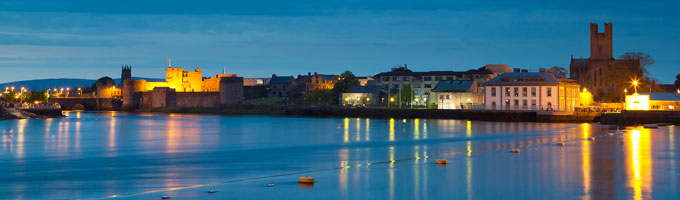 Panoramic nighttime view of Limerick city, Ireland