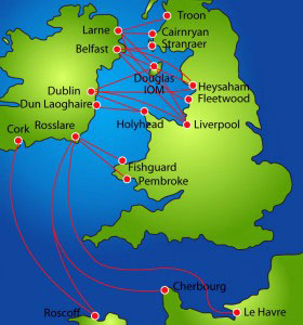 Ferry routes between Ireland and UK, France