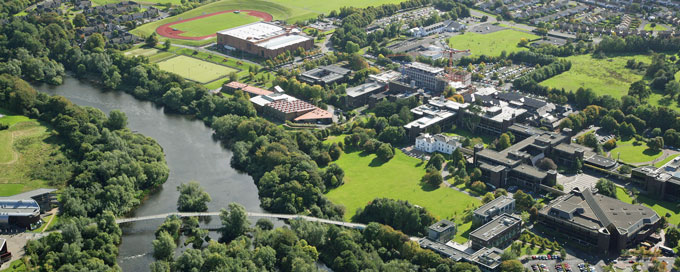 Aerial view of University of Limerick campus